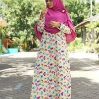 Baju gamis motif kupu hanya gamis tanpa jilbab khimar bergo