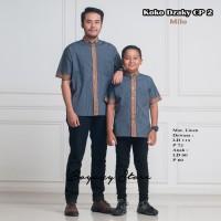 baju kemeja koko couple (bapak dan anak) dzaky