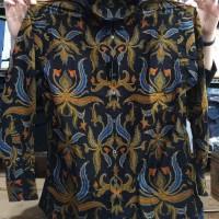 Batik MURAH Kemeja Pria Alisan Slimfit Panjang Batik Motif Bunga