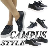 CAMPUS STYLE Sepatu Kets Korea sekolah casual wanita warna hitam