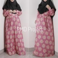 Gamis Maxi Dress Katun Jepang Motif Bunga Pink Bantul Jogja