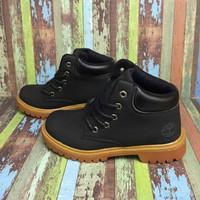 Sepatu Timberland Boots anak kulit asli warna hitam