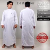 Baju koko Gamis Jubah Pria lengan panjang putih