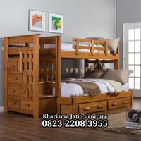 Dipan Susun Jati + Tempat Baju & Sprai, Teak Bunk Beds