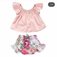 Setelan Babygirl Motif Flower Import/Baju Bayi/Pakaian Baby