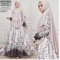 Max lux raisa grey ks6877/baju gamis plus kerudung/fashion muslimah