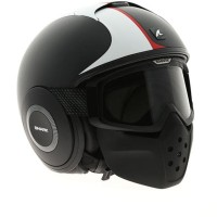 BEST SELLER! HELM SHARK RAW STRIPE BLACK WHITE HALF FULL SPORTY