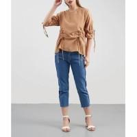 baju cewek pakaian atasan wanita blouse serut kerut coklat clo658
