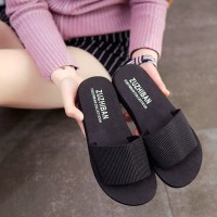 sendal wanita anti slip hitam polos sandal slipper cewek fse112