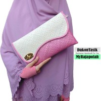 DT-1710 Clutch (M) Gelombang Half Butterfly Anyaman Bisa Decoupage