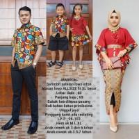 baju couple batik keluarga muslim bahan katun warna marun BSG621