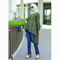 Baju Muslim Wanita Army Tunik Fashion Hari Raya Masa Kini Termurah