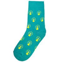 Kaos Kaki Panjang Socky Ferris Wheel - Teal/Yellow (High Socks)