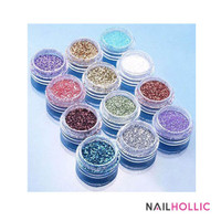 12 pcs glitter dust nail decoration set / bubuk glitter