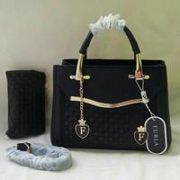 Tas wanita import furla kw 1 set dompet fashion hitam