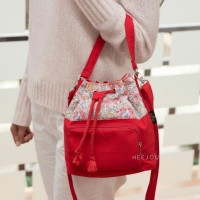 Tas Sling Bag Fashion Hits Wanita Zaman Now Heejou 2 IN 1 Ivy Red
