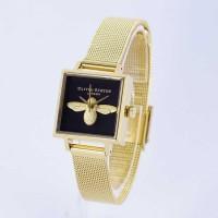 Jam Tangan Olivia Burton London Square Bee 3D Gold Black Mesh