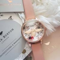 Jam Tangan Wanita Olivia Burton ORI BM Botanical Bee 3D Kulit Pink