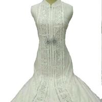Baju Pesta Muslim Gamis Putih Mewah - Brokat dan Silk Sutera