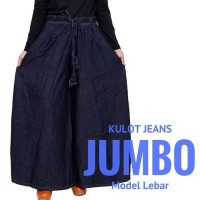 CELANA JEANS Celana Panjang Kulot Wanita Muslimah JUMBO Bahan Jeans