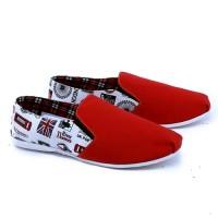 Sepatu Casual Wanita Merah Kombinasi Putih Garsel Shoes