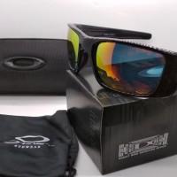 Kacamata Oakley Fuel Cell hitam motif lensa fire polarized full set