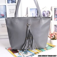 Fashion Wanita Tote Bag Zara Kuncir Tengah Grey