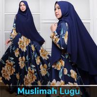 maxi sabrina syari dengan bergo baju gamis muslim biru