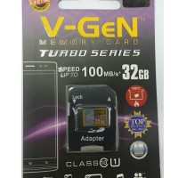 MicroSD V-GeN Turbo 32GB Class 10 + Adapter Micro SD Memory HP VGEN