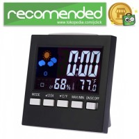 Jam Alarm LED Thermometer Hygrometer Forecast Weather Station - Hitam