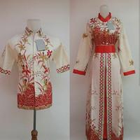 Jual couple muslim/batik couple/batik seragam/baju couple/gamis batik putih Murah