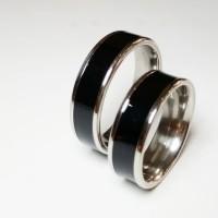 Cincin Single / Couple untuk Tunangan  Titanium  Silver Black M1