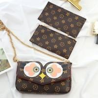 Jual Tas Fashion Import LV Baby Owl Rooster Pochette Felicia Slingbag Murah Murah
