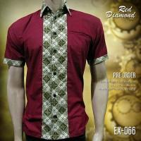 SERAGAM BATIK MERAH EX-066 | Red Diamond | Baju Batik Kombinasi