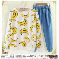 Harga promo denim white banana pakaian wanita sweater setelan set ootd | Pembandingharga.com