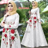 BAJU WANITA maxi ayana putih/maxi syana/terusan maxi dress hijab/long
