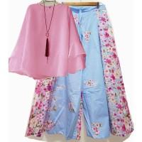 Stelan Kulot Grace Biru-Pink