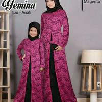 Baju Muslim Gamis Couple Mom Kid/Cp Ibu Anak Maxi Brukat Novie Magenta