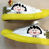 Sepatu lukis low converse allstar chibi maruko yellow kuning
