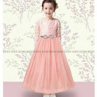 B2w2 party dress glamour C brukat lace tile gaun pesta anak