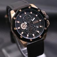 Jam Tangan Pria / Cowok Bonia Chrono SK7244 Leather Black Rosegold A