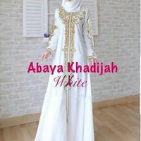Jual gamis abaya white khadijah bordir turki high quality Murah