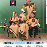 Sarimbit Motif Batik - Zenitha - ZN 331 Krem - Baju Muslim Keluarga