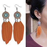 Anting Korea Bohemian ethnic round feather earrings