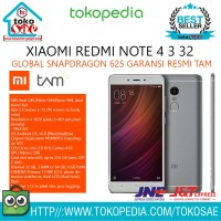HP XIAOMI REDMI NOTE 4 3 32 GLOBAL SNAPDRAGON 625 GARANSI RESMI TAM
