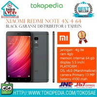 HP XIAOMI REDMI NOTE 4X 4 64 BLACK GARANSI DISTRIBUTOR 1 TAHUN ANDROID