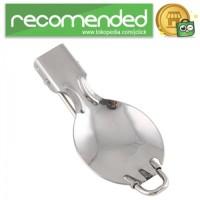 Stainless Steel Foldable Spoon and Fork / Sendok Garpu Lipat - Silver