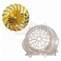 Paket Cover Transparan + Kipas Gold Beat Fi ESP