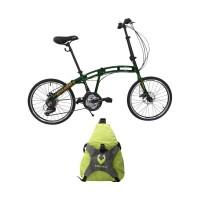 Paket Bundling - Vivacycle Comet Folding Sepeda Lipat - Green   Free