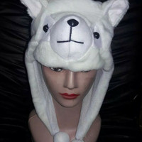KUPLUK HEWAN KUCING PUTIH DEWASA - TOPI BINATANG WHITE CAT ANIMAL HAT